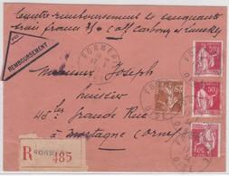 LSC - REC. CONTRE REMBOURSEMENT  FORMERIE  / 17.1.34 - Marcophilie (Lettres)