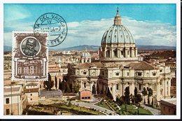 "VATICAN - 1954 - Carte Maximum Glacé ""Citta Del Vaticano - S. Pietro Visto Dall'Osservatorio Vaticano "" B/TB - - Maximumkaarten"