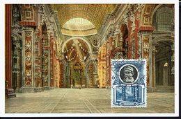 """VATICAN - 1954 - Carte Maximum Glacé """"Citta Del Vaticano - S. Pietro : Interno """" B/TB - - Maximumkaarten"""