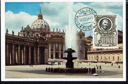 """VATICAN - 1954 - Carte Maximum Glacé """"Citta Del Vaticano - S. Pietro E Fontana"""" B/TB - - Maximumkaarten"""