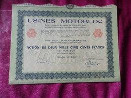 USINES MOTOBLOC (capital 57 Millions) Bordeaux Bastide,gironde - Actions & Titres