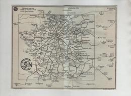 Carte SNCF 1952 France Distances En Km Entre Villes Européennes Importantes - Mapas