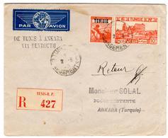 Lettre Recommandée Par Avion De Tunis Chargements (02.06.1943) Pour Ankara, Via Beyrouth Et Adana - Tunisie (1888-1955)
