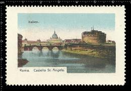 Old German Poster Stamp Cinderella Reklamemarke Vignette Erinnofili Publicité Italy Castel Sant'Angelo Rome, Bridge - Châteaux