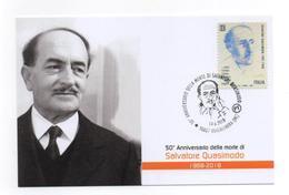 SALVATORE QUASIMODO 2018 ANNULLO SPECIALE ROCCALUMERA MESSINA 14 GIUGNO FRANCOBOLLO NOBEL - 6. 1946-.. Repubblica
