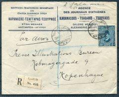 1938 Egypt Alexandria Registered Airmail Cover - Press Illustrations Bureau, Copenhagen Denmark. Agence Des Journaux - Egypt