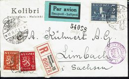 FINLANDE - 1941- Enveloppe Recommandée Par Avion, De Helsinki Pour Limbach, Avec Contrôle De Censure Locale Et Allemand. - Briefe U. Dokumente