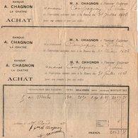 VP12.276 - Factures X 3 - Banque A. Chagnon à LA CHATRE - Bank & Insurance