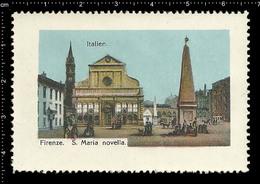 Poster Stamp Cinderella Reklamemarke Vignette Erinnofili Publicité Italy Florence Firenze Santa Maria Novella Church - Erinnofilia