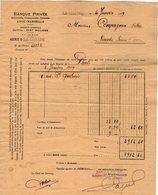 VP12.277 - Facture - Banque Privée .... LYON - MARSEILLE Agence De LA CHATRE - Bank & Insurance