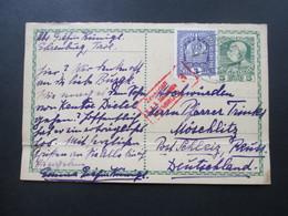 Österreich 1917 Ganzsache Mit Zusatzfrankatur. Doppelkarte?! Zensuriert KuK Zensurstelle 3 Innsbruck - 1850-1918 Imperium