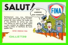 ADVERTISING, PUBLICITÉ - STATION SERVICE FINA  - CIRCULÉE EN 1960 - - Publicité