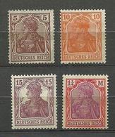 Deutsches Reich Germania 1905-1920, 4 Marken, * - Allemagne