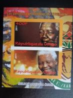 2011 BLOC  NON DENTELE 2 TIMBRES ** -  NELSON MANDELA - Congo - Brazzaville