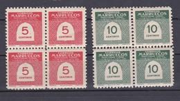 MARRUECOS AÑO 1953 CIFRAS EN BLOQUE DE 4, EDIFIL Nº 382 Y 383* * (NUEVOS) - Spanisch-Marokko