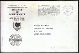 France Soultzmatt 1991 / Commune De Soultzmatt / Coat Of Arms / Rooster / Mineral Waters, Vineyard / Machine Stamp - Postmark Collection (Covers)
