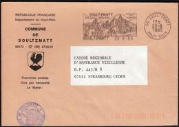 France Soultzmatt 1985 / Commune De Soultzmatt / Coat Of Arms / Rooster / Mineral Waters, Vineyard / Machine Stamp - Postmark Collection (Covers)
