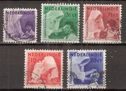 Ned Indie 1938 Missie. NVPH 241-245 Gestempeld/ Cancelled - Indes Néerlandaises