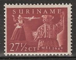 Suriname 1954 Luchtpost Eerste Vlucht Paramaribo-Amsterdam NVPH 49 - Ongestempeld/MH/* Hinged - Suriname ... - 1975