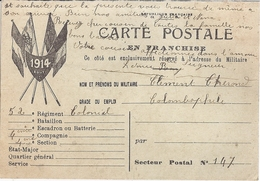 CARTE POSTALE EN RANCHISE- GRADE OU EMPLOI: COLOMBOPHILE 1914 - War 1914-18