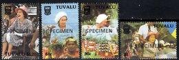 TUVALU 1988 Independence 10th Anniversary Complete Set Of 4 Values Overprinted SPECIMEN Unmounted Mint - Tuvalu