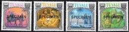 TUVALU 1990 Christmas Complete Set Of 4 Values Overprinted SPECIMEN Unmounted Mint - Tuvalu