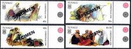 TUVALU 1998 Christmas Complete Set Of 4 Values Overprinted SPECIMEN Unmounted Mint - Tuvalu
