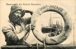 """SAINT NAZAIRE - SOUVENIR - PAQUEBOT """" LE NAVARRE """" - PECHEUR - Saint Nazaire"""