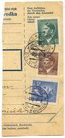 Czechoslovakia Bohemia & Moravia 1944 Parcel Card Dolní Kounice / Kanitz, Scott 68, 74, 77 - Bohemia & Moravia