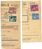 Czechoslovakia Bohemia & Moravia 1944 2 Parcel Cards Hradec Králové / Königgrätz - Bohemia & Moravia
