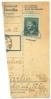Czechoslovakia Bohemia & Moravia 1944 Parcel Card Slabce / Slabetz, Scott 77 - Bohemia & Moravia