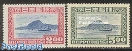 Japan 1949 Beppu 2v, (Unused (hinged)), Transport - Ships & Boats - 1926-89 Keizer Hirohito (Showa-tijdperk)