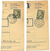 Czechoslovakia Bohemia & Moravia 1944 2 Parcel Cards Velvary / Welwarn, Scott 75 - Bohemia & Moravia
