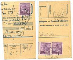 Czechoslovakia Bohemia & Moravia 1942 Parcel Card Vsetín / Wsetin, Scott 49 X 3 - Bohemia & Moravia