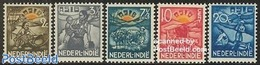 Netherlands Indies 1937 Social Welfare 5v, (Unused (hinged)), Nature - Cattle - Various - Agriculture - Agriculture
