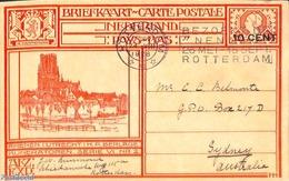 Netherlands 1928 Postcard 10 Cent On 12.5c, Rhenen, Sent To Sydney, (Used Postal Stationary) - Postal Stationery