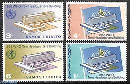 Samoa 1966 New WHO Building 4v, (Mint NH), History - United Nations - Health - American Samoa