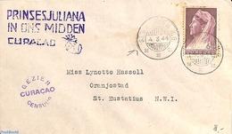 St. Maarten 1944 Censored Letter From Sint Maarten To St. Eustatius, Postmark: PRINSES JULIANA IN ONS MIDDEN, (Postal Hi - Familles Royales