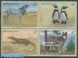 United Nations, Vienna 1993 Endangered Animals 4v [+], (Mint NH), Nature - Animals (others & Mixed) - Reptiles - Birds - - Stamps