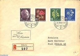 Switzerland 1949 Registered Envelope From Schweiz To Zurich, (Postal History), Stamps - Suisse