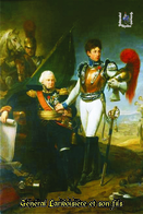 Carte Postale, Militaria, Napoleon, Uniformes De La Grande Armée, Carabinier à Cheval, Général Lariboisière Et Son Fils - Uniformen