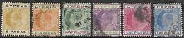 Cyprus  1904-7  Sc#48-53   5pa, 10pa, 1/2pi, 30pa, 1pi, 2pi  Used  2016 Scott Value $10.65 - Zypern (...-1960)