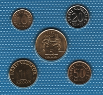 ESTONIA  LOT COINS 5 MONNAIES 1992-2003 - Estonia