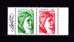 France 2017,  Paire 0.73 + 0.85 Du Carnet Sabine Signé Elsa Catelin - France