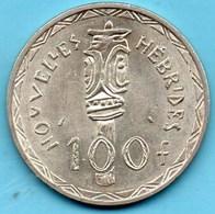 (r65)  Nouvelles HEBRIDES  100 Francs 1966  Silver KM#1  French Colonie - Vanuatu