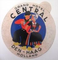 HOTEL MOTEL PENSION CENTRAL DEN HAAG HOLLAND NETHERLANDS DECAL STICKER LUGGAGE LABEL ETIQUETTE AUFKLEBER - Etiketten Van Hotels