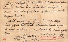 CPA PROJET DU DECRET DU DOCTEUR GUILLOTIN RELATIF AU GENRE DE CHATIMENT A INFLIGER AUX COUPABLES - 21 JANVIER 1790 - History