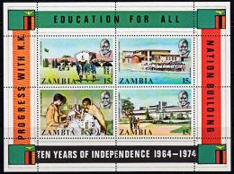 Zm0217 ZAMBIA 1974, SG MS217, 10th Anniv Independence Mini Sheet,  MNH - Zambia (1965-...)