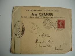 Lettre Ouverture Censure Militaire Enveloppe Commerciale Chapuis Thonon Les Bains Pour Toulouse Guerre 14.18 - Marcophilie (Lettres)