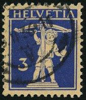 SCHWEIZ BUNDESPOST 199z O, 1933, 3 C. Lilaultramarin Auf Mattgelblichorange, Geriffelte Gummierung, Pracht, Mi. 30.- - 1854-1862 Helvetia (Ungezähnt)